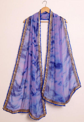 Tie Dyed Chiffon Dupatta in Light Purple