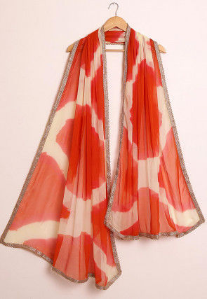Tie Dyed Chiffon Dupatta in Orange and Off White