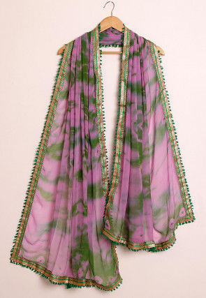 Tie Dyed Chiffon Dupatta in Pink and Green