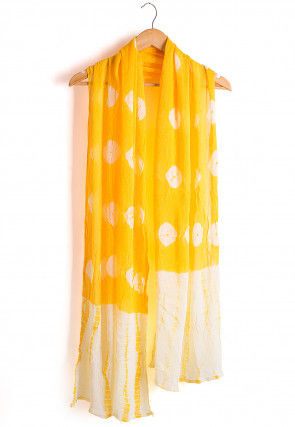 Tie Dyed Chiffon Dupatta in Yellow