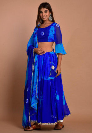 Tie Dyed Chiffon Lehenga in Blue