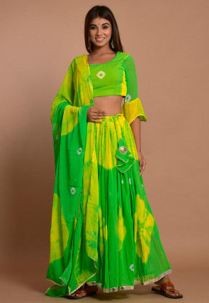 Tie Dyed Chiffon Lehenga in Shaded Green and Yellow