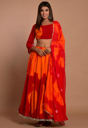 Tie Dyed Chiffon Lehenga in Shaded Orange and Red