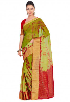 Tie Dyed Chiffon Saree in Light Olive Green