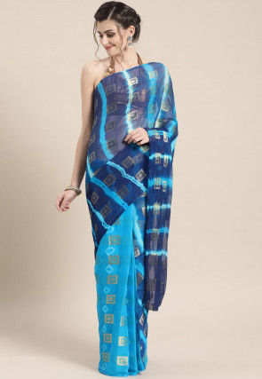 Tie Dyed Chiffon Saree in Navy Blue and Light Blue