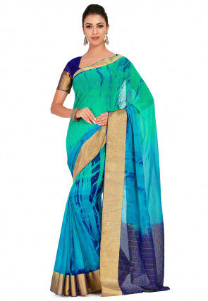 Tie Dyed Chiffon Saree in Shaded Teal Green and Turquoise