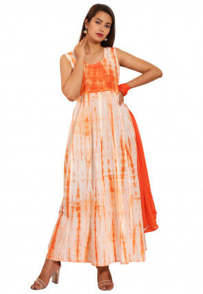Tie Dyed Cotton Abaya Style Suit in Orange and Off White