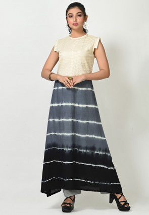 Tie Dyed Cotton Kurta with Pant in Off White and Grey