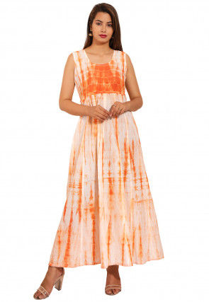 Tie Dyed Cotton Long Kurta in Orange and Off White