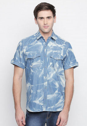 Tie Dyed Cotton Shirt in Light Blue