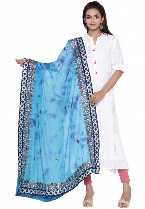 Tie Dyed Faux Chiffon Dupatta in Blue