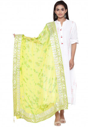 Tie Dyed Faux Chiffon Dupatta in Yellow and Green
