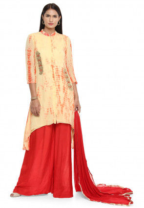 Tie Dyed Faux Georgette Pakistani Suit in Beige