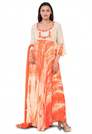 Tie Dyed Georgette Abaya Style Suit in Orange and Off White
