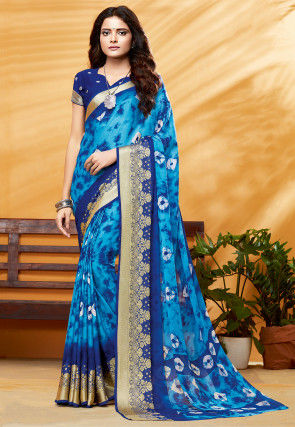 Tie Dyed Georgette Saree in Light Blue