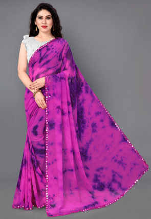 Tie Dyed Georgette Saree in Magenta
