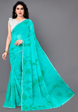 Tie Dyed Georgette Saree in Turquoise