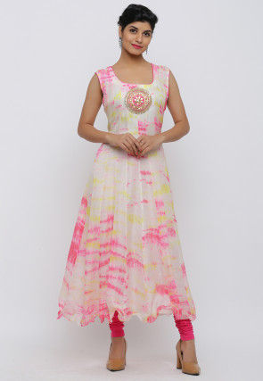 Tie Dyed Pure Kota Silk Anarkali Kurta in Off White and Pink