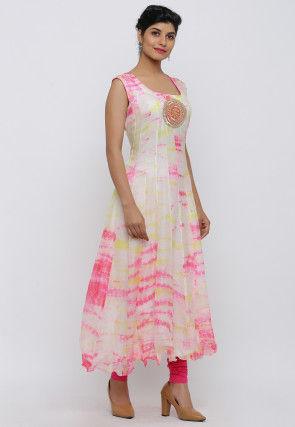 Tie Dyed Pure Kota Silk Anarkali Kurta Set in Off White and Pink