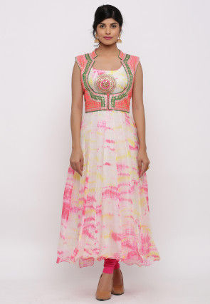 Tie Dyed Pure Kota Silk Kurta Jacket Set in Off White and Pink