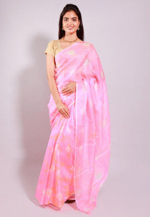 Tie Dyed Pure Kota Silk Saree in Baby Pink
