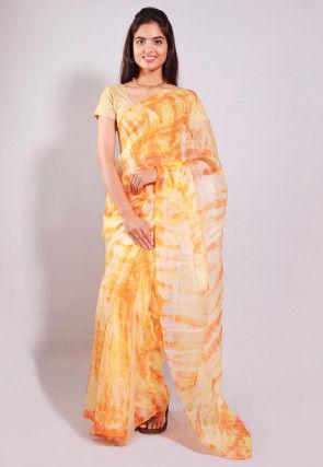 Tie Dyed Pure Kota Silk Saree in Beige and Orange