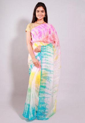 Tie Dyed Pure Kota Silk Saree in Multicolor