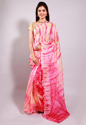 Tie Dyed Pure Kota Silk Saree in Pink and Beige
