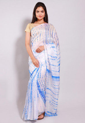 Tie Dyed Pure Kota Silk Saree in White and Blue