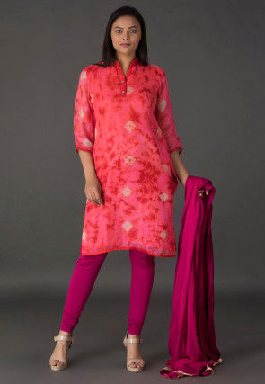 Tie Dyed Pure Kota Silk Straight Suit in Pink