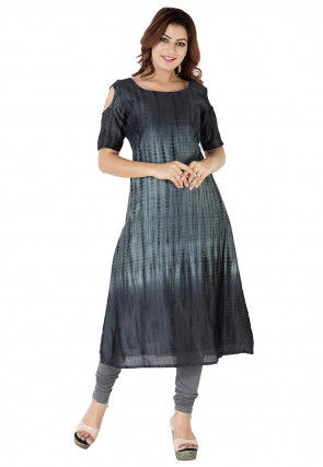Tie Dyed Pure Silk A Line Long Kurta in Grey Ombre