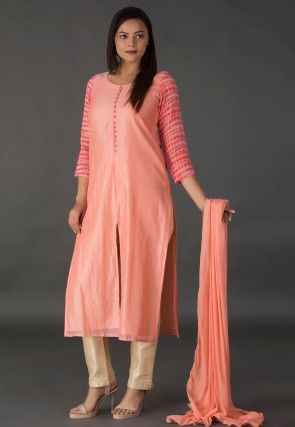 Tie Dyed Sleeve Chanderi Silk Pakistani Suit in Peach