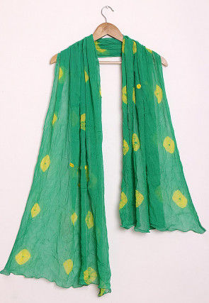 Tie N Dye Chiffon Dupatta in Green