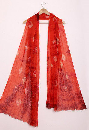 Tie N Dye Chiffon Dupatta in Red