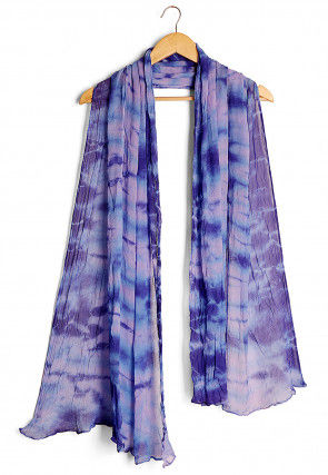 Tie N Dye Chiffon Dupatta in Shaded Purple and Blue
