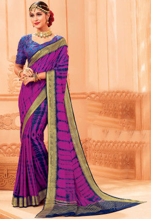 Tie N Dye Chiffon Saree in Purple and Navy Blue