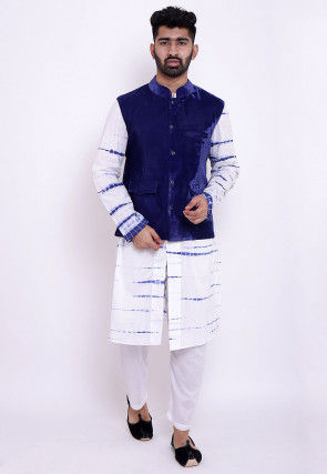 Tie N Dye Cotton Front Open Kurta Jacket Set in White and Blue