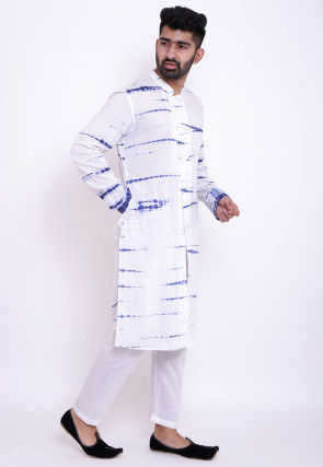 Tie N Dye Cotton Front Open Kurta Set in White