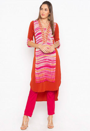 Tie N Dye Crepe Layered High Low Kurta in Multicolor and Rust