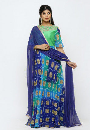 Tie N Dye Georgette Abaya Style Suit in Green and Muticolor