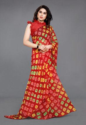 Tie N Dye Georgette Saree in Red