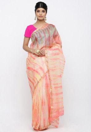 Tie N Dye Pure Kota Silk Saree in Light Peach