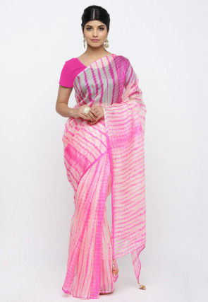 Tie N Dye Pure Kota Silk Saree in Pink and Off White
