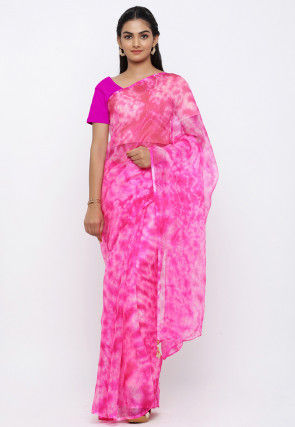 Tie N Dye Pure Kota Silk Saree in Pink