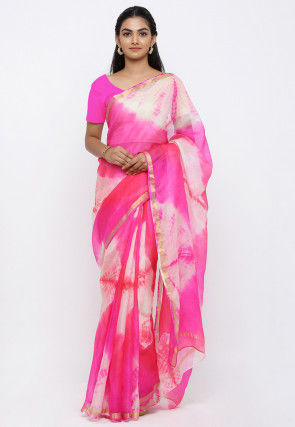 Tie N Dye Pure Kota Silk Saree in Shaded Pink