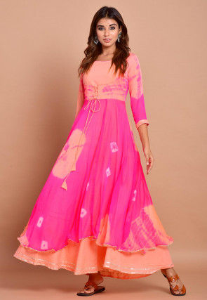 Tie N Dyed Chiffon Layered Maxi Dress in Fuchsia and Peach
