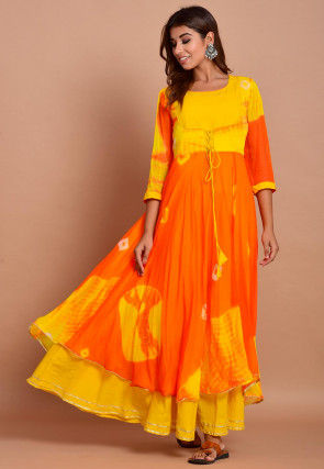 Tie N Dyed Chiffon Layered Maxi Dress in Orange and Yellow