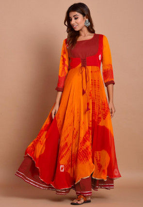 Tie N Dyed Chiffon Layered Maxi Dress in Red and Orange