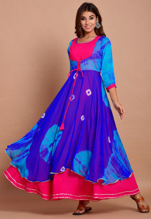 Tie N Dyed Chiffon Layered Maxi Dress in Royal Blue and Fuchsia