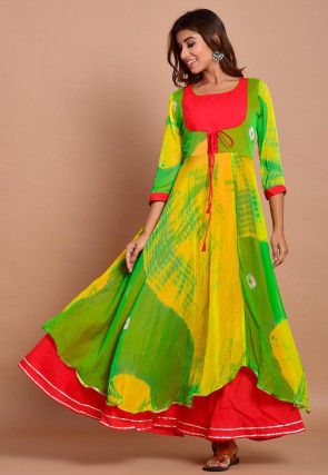 Tie N Dyed Chiffon Layered Maxi Dress in Yellow and Green